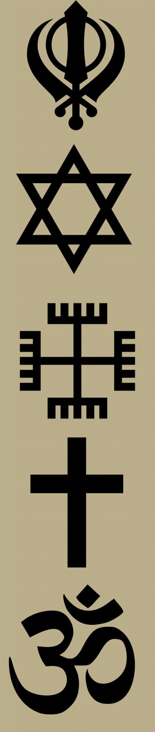 multi faith symbols Sikh Hindu Polish Christian Roman Catholic Judaism