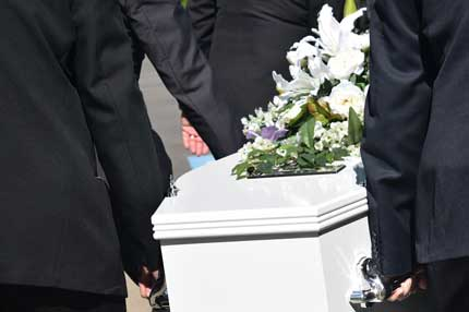 family members bearing a coffin