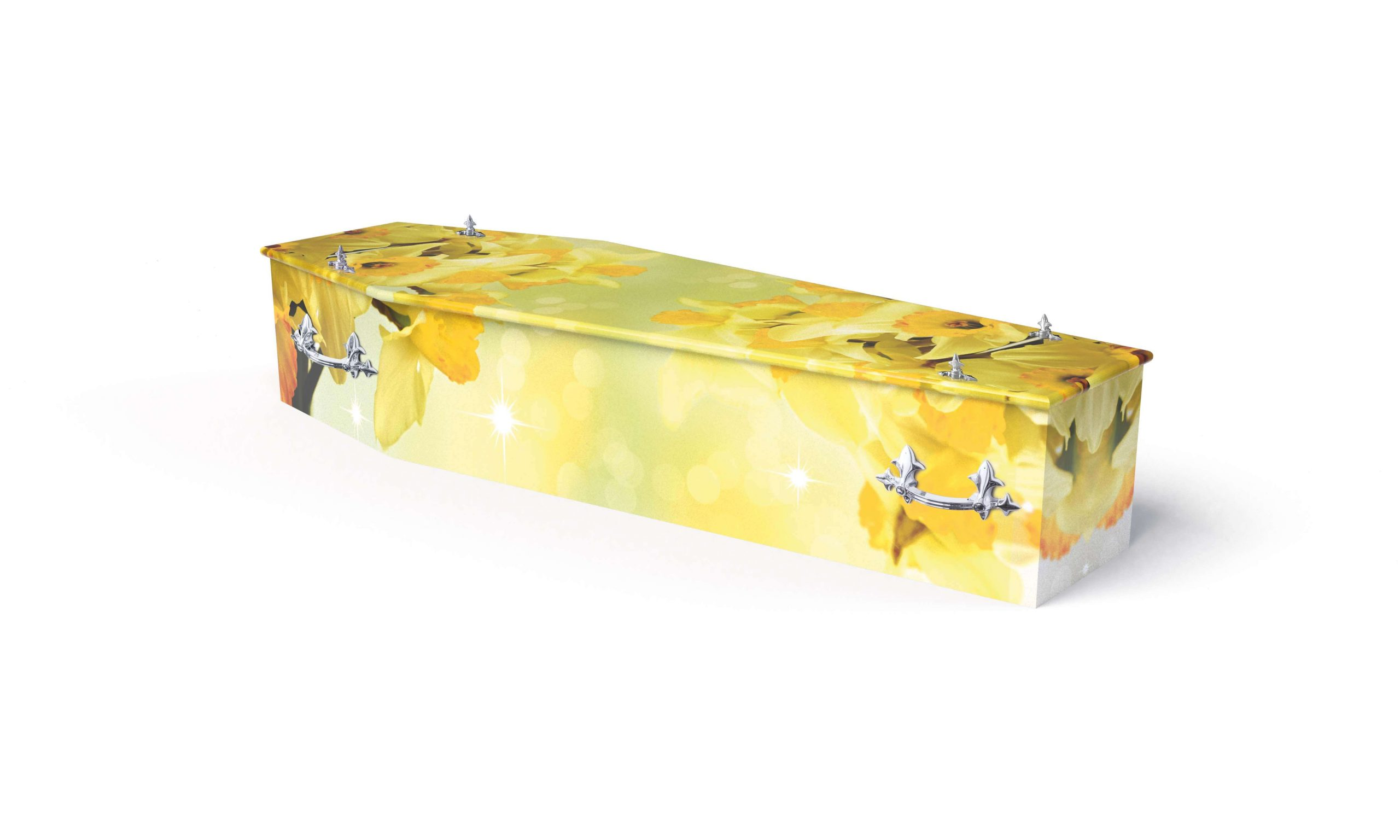 Bright and colourful daffodil theme printed coffin