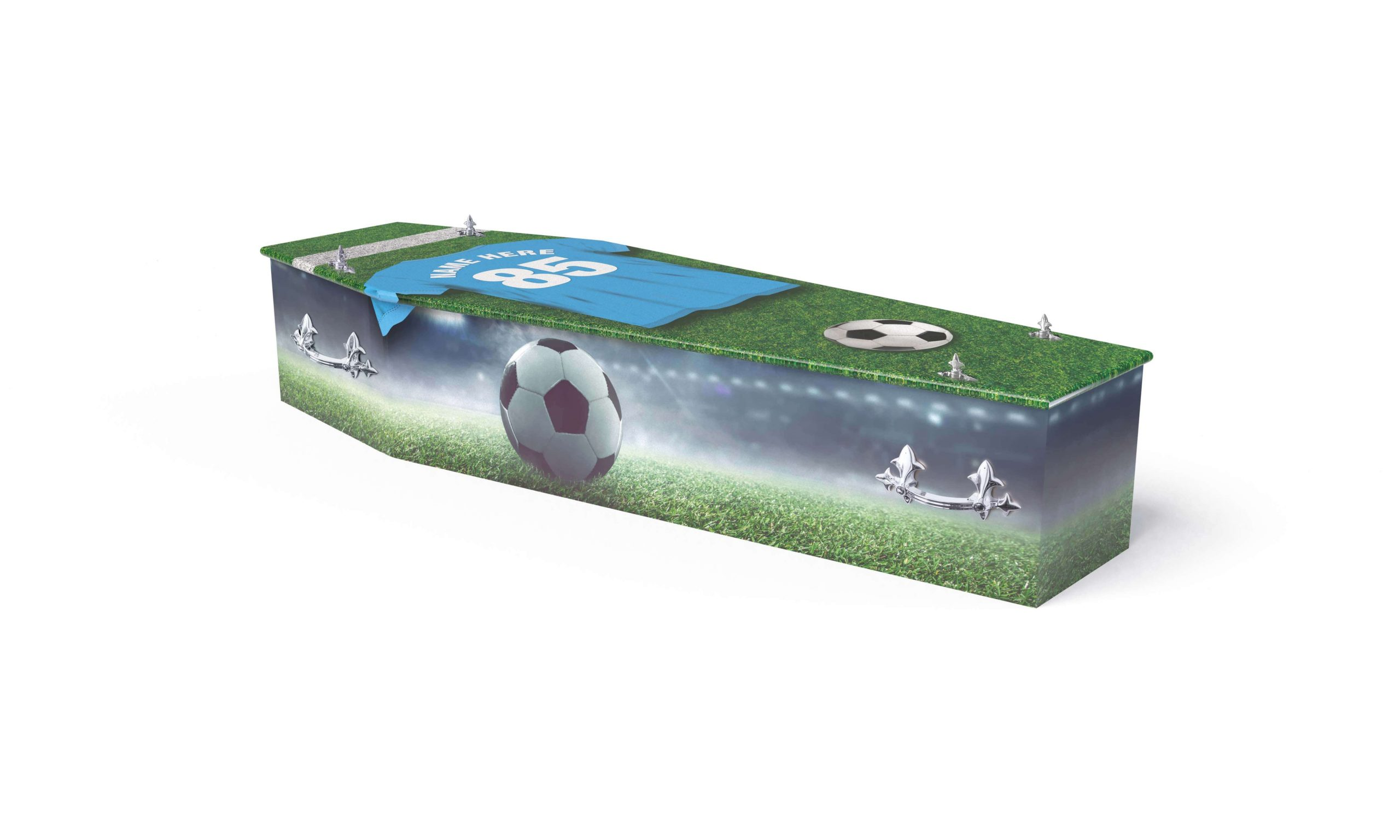 Bright and colourful football theme printed coffin