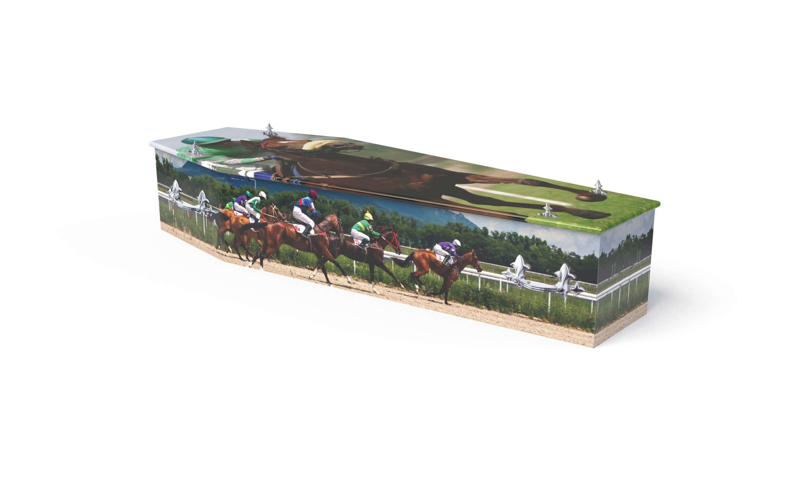 Bright and colourful horse racing theme printed coffin