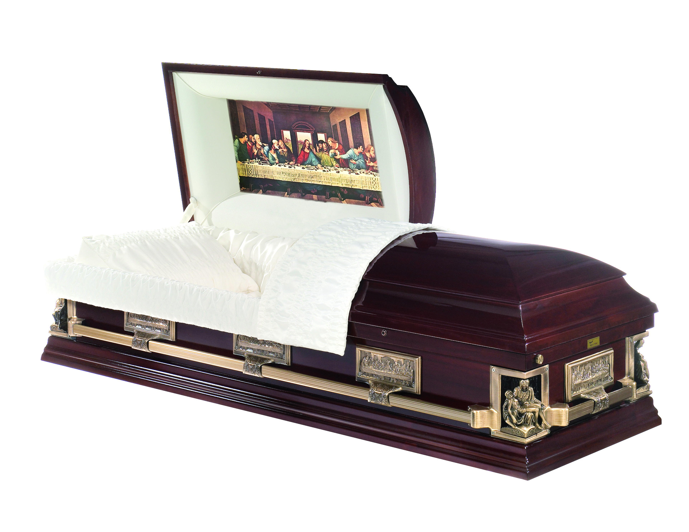 Solid poplar casket with highly polished finish. Featuring images of the Last Supper by Leonardo da Vinci