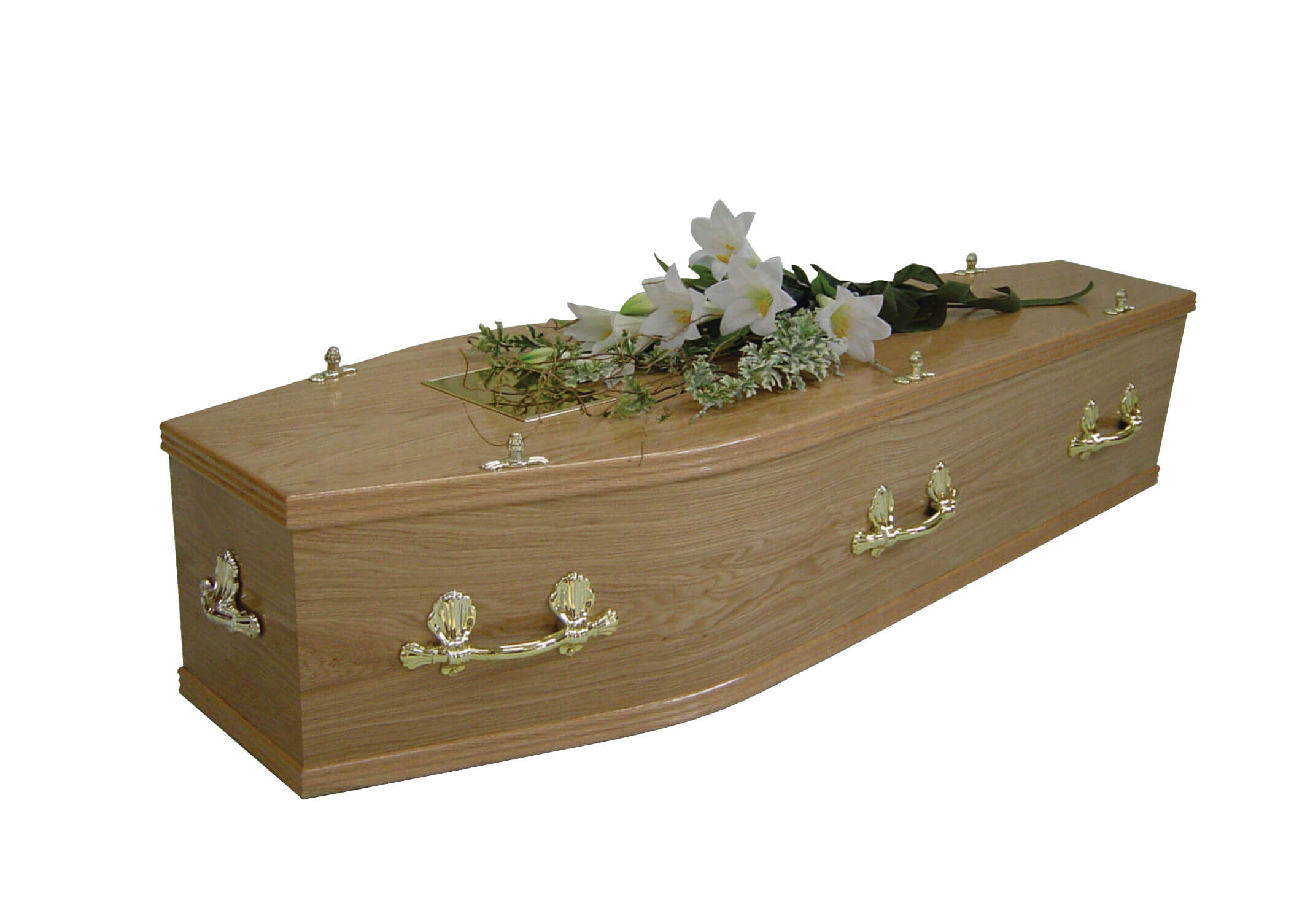 A veneered oak coffin with matching solid oak combination moulds.