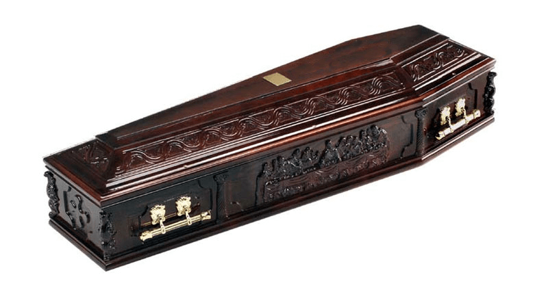 hand carved coffin depicting The Last Supper