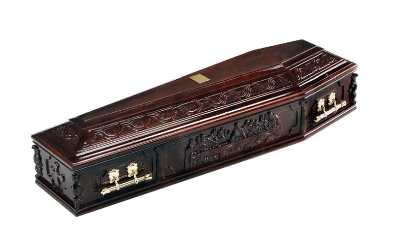Solid wood coffin depicting The Last Supper on the side panels and ornate carvings to the raised lid.
