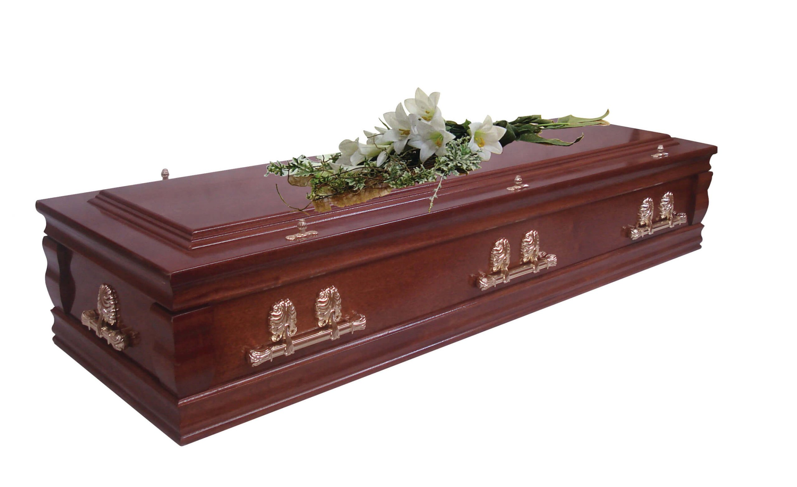 Veneered mahogany casket with deep solid wood moulds, carved ornate corner pillars and raised lid. Also available in solid mahogany.