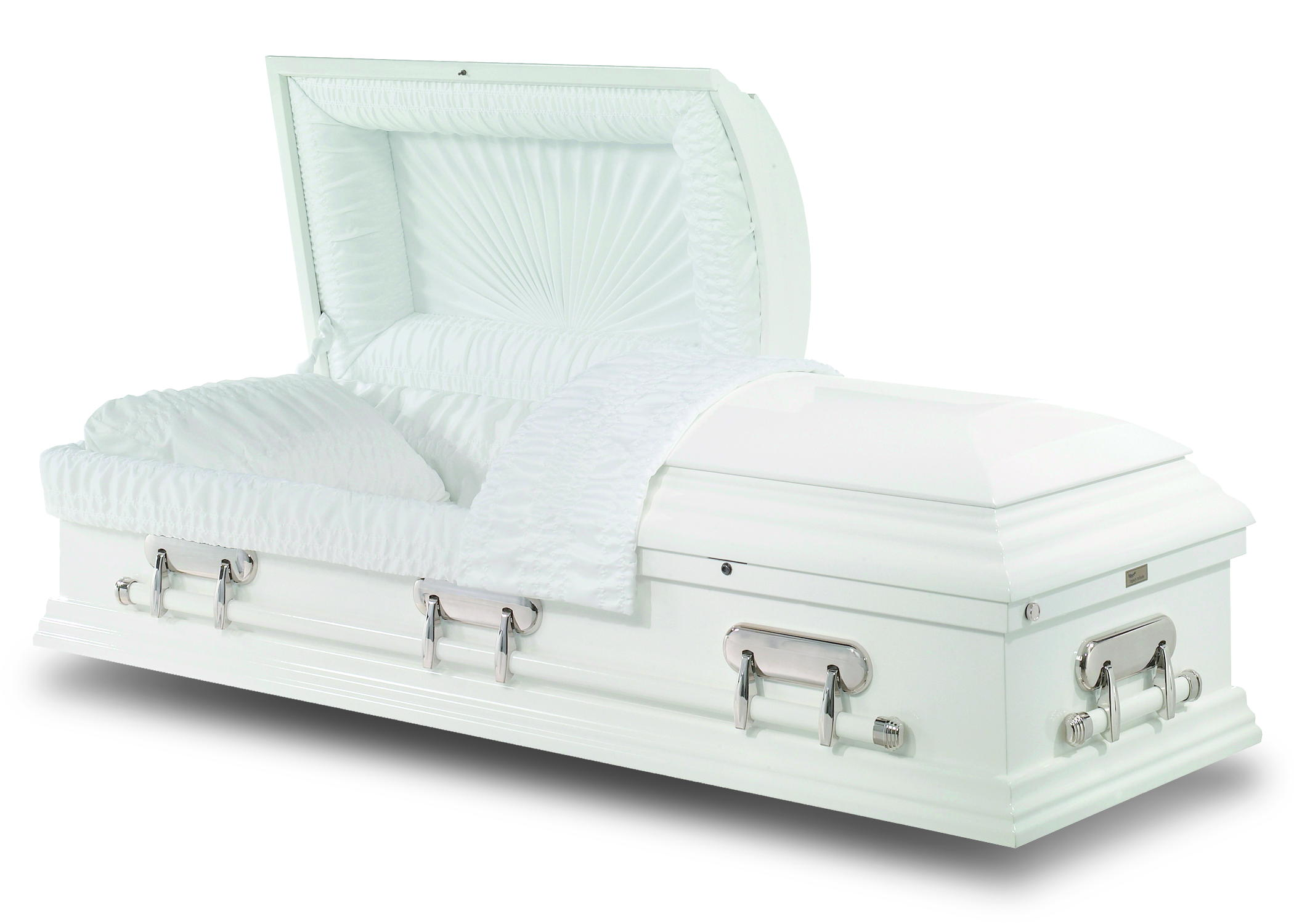 Pure white casket with a high gloss finish. With matching bar handles and mirrored handle supports. Fitted with crepe interior and sunburst pattern in the inside of the lid.
