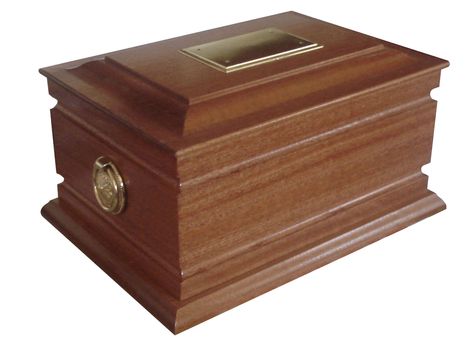 Solid mahogany ashes casket with continuous routered fluted panels.