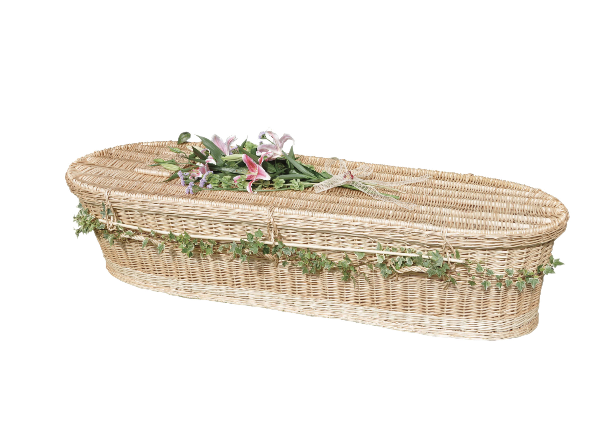 Oval shape natural willow coffin with woven handles.