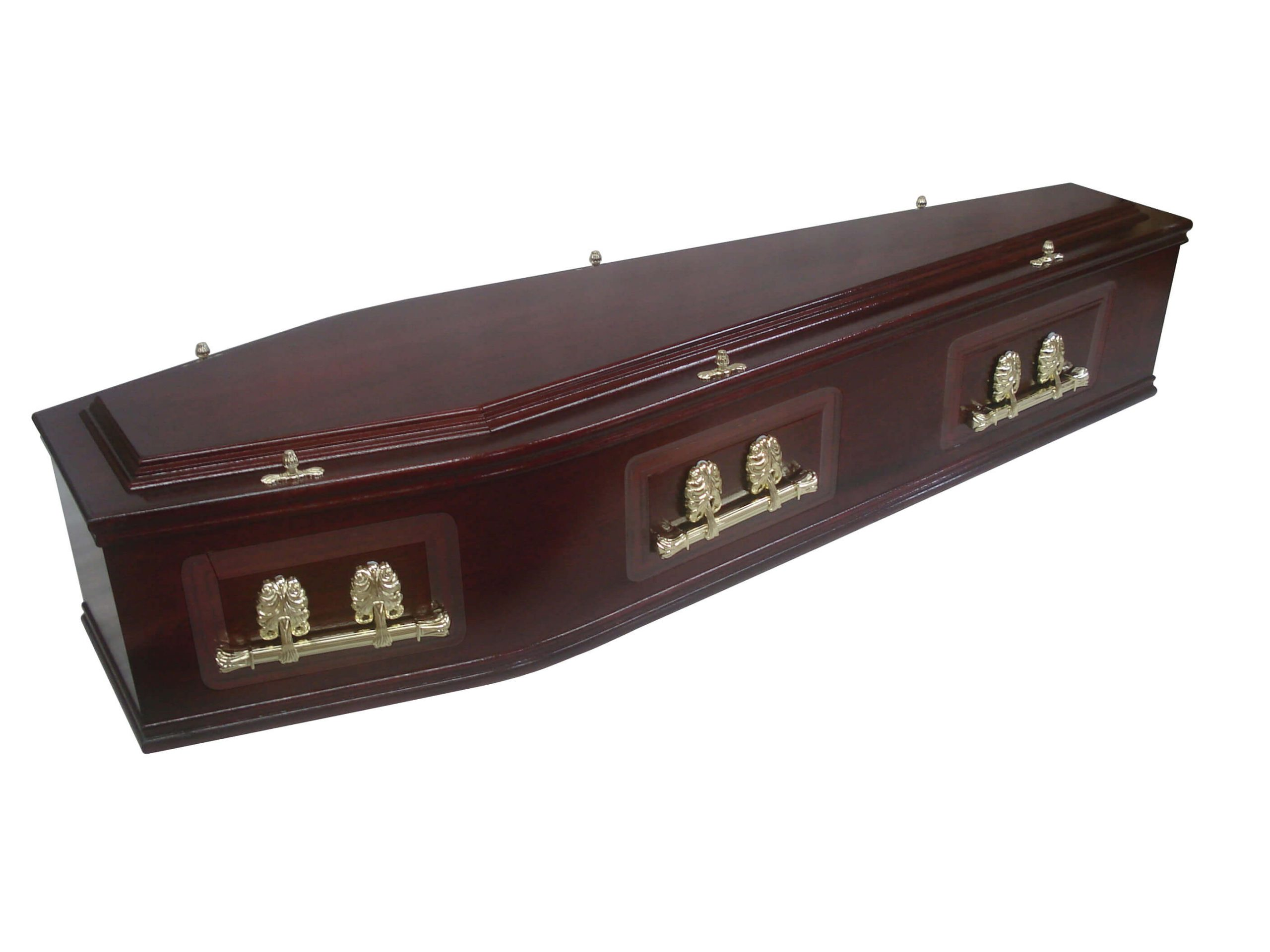 A veneered mahogany coffin with embossed side panels, double moulds and No.1 raised lid. Finished in rich dark mahogany stain.